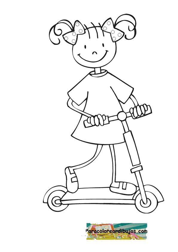 niña en patinete para colorear | chicas barriendo | Pinterest ...