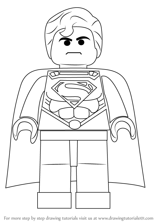 How To Draw Superman From The Lego Movie Drawingtutorials101 Com Lego Coloring Pages Superman Drawing Lego Coloring