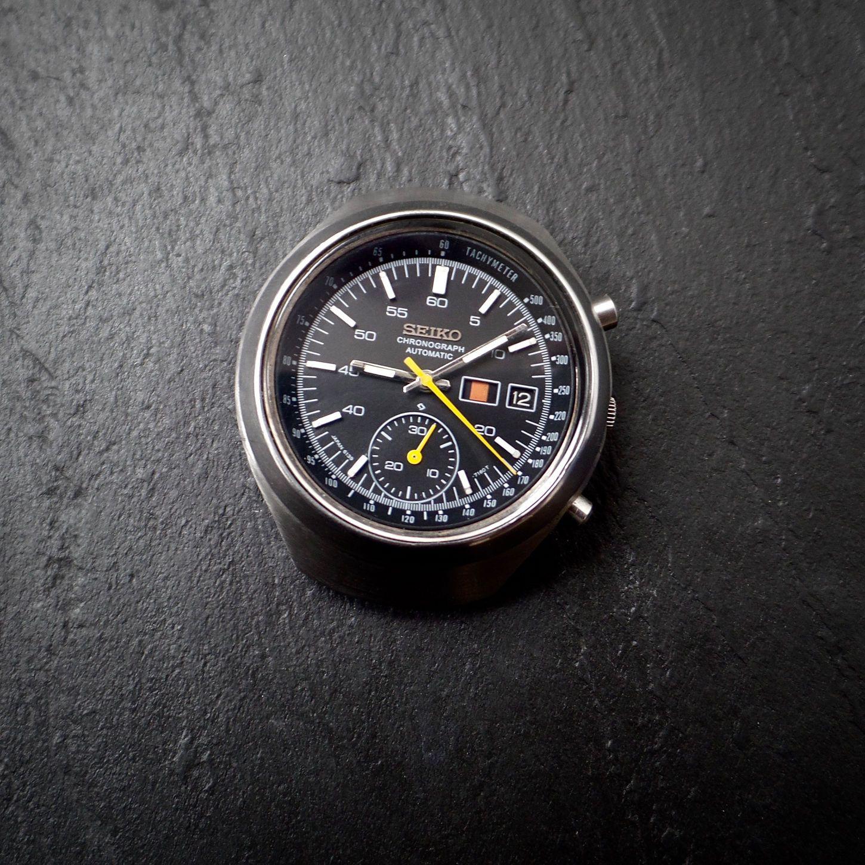 seiko automatic chronograph helmet 6139 7101 rare black dial date space uhren uhren. Black Bedroom Furniture Sets. Home Design Ideas