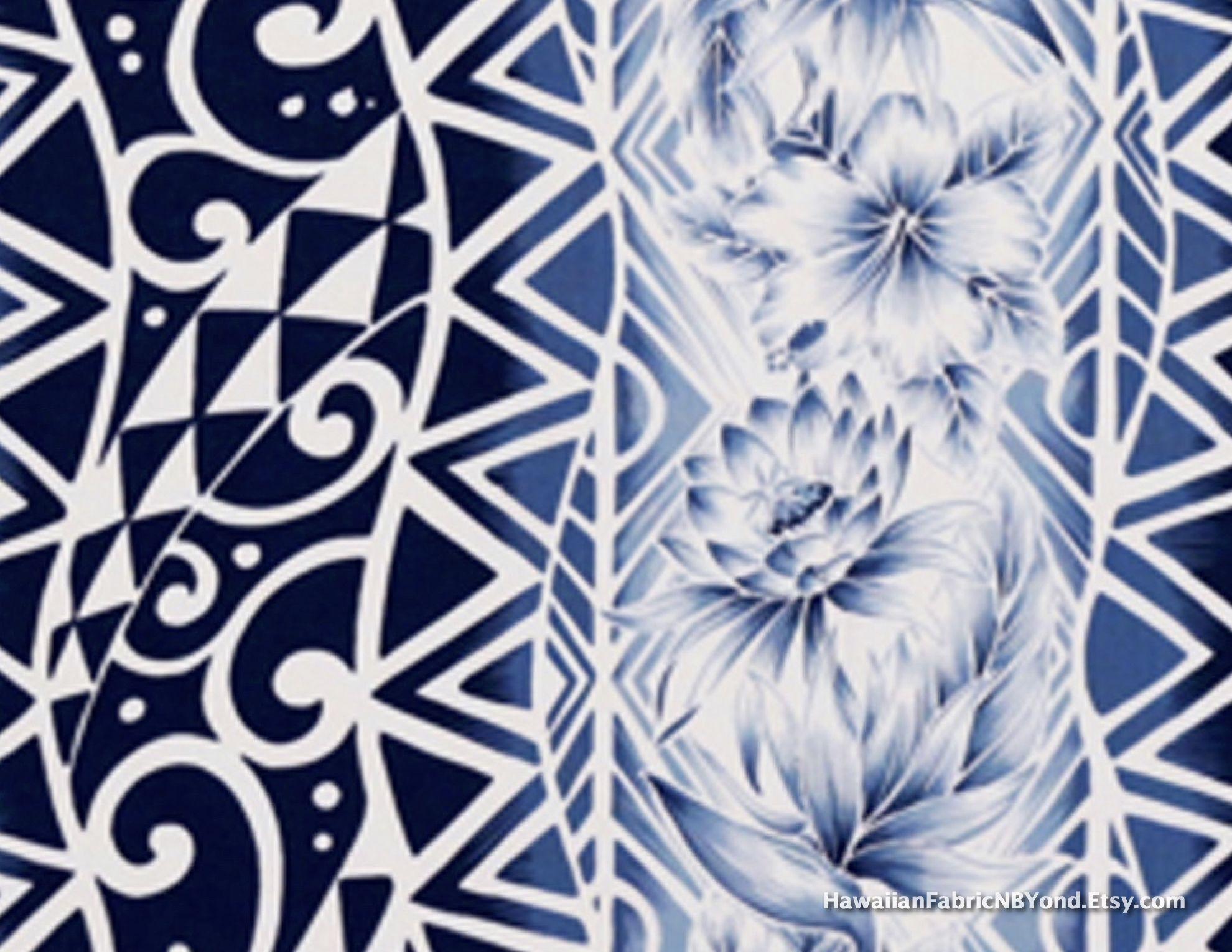 Hawaiian fabric: Tapa tattoo patterns and tropical flowers. Cotton ...