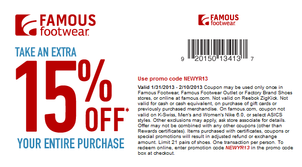 15 Off The Tab At Famous Footwear Or Online Via Promo Code Newyr13 Coupon Via The Coupons App Famous Footwear Coupons Printable Coupons