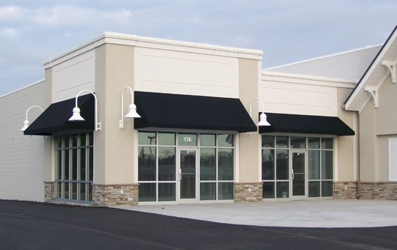 Simple Black Fabric Awning Classic Storefront Design