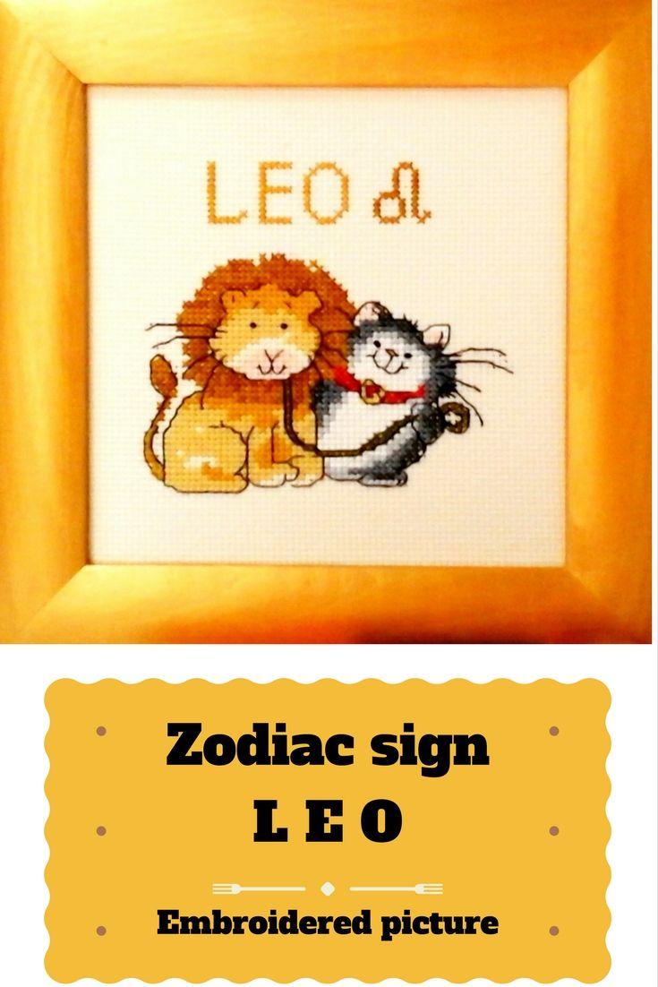 Zodiac sign Leo Embroidery charm Wall kids room Nursery art animals ...
