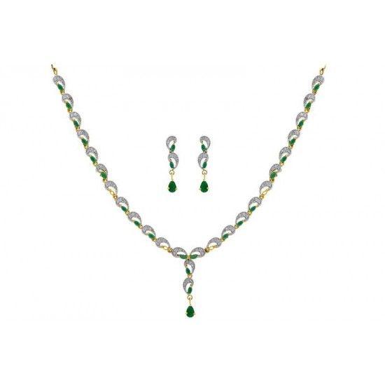 Pearls Cart Zircon Studded Elegant Necklace Set (Green) #necklaceset #fashionjewellery