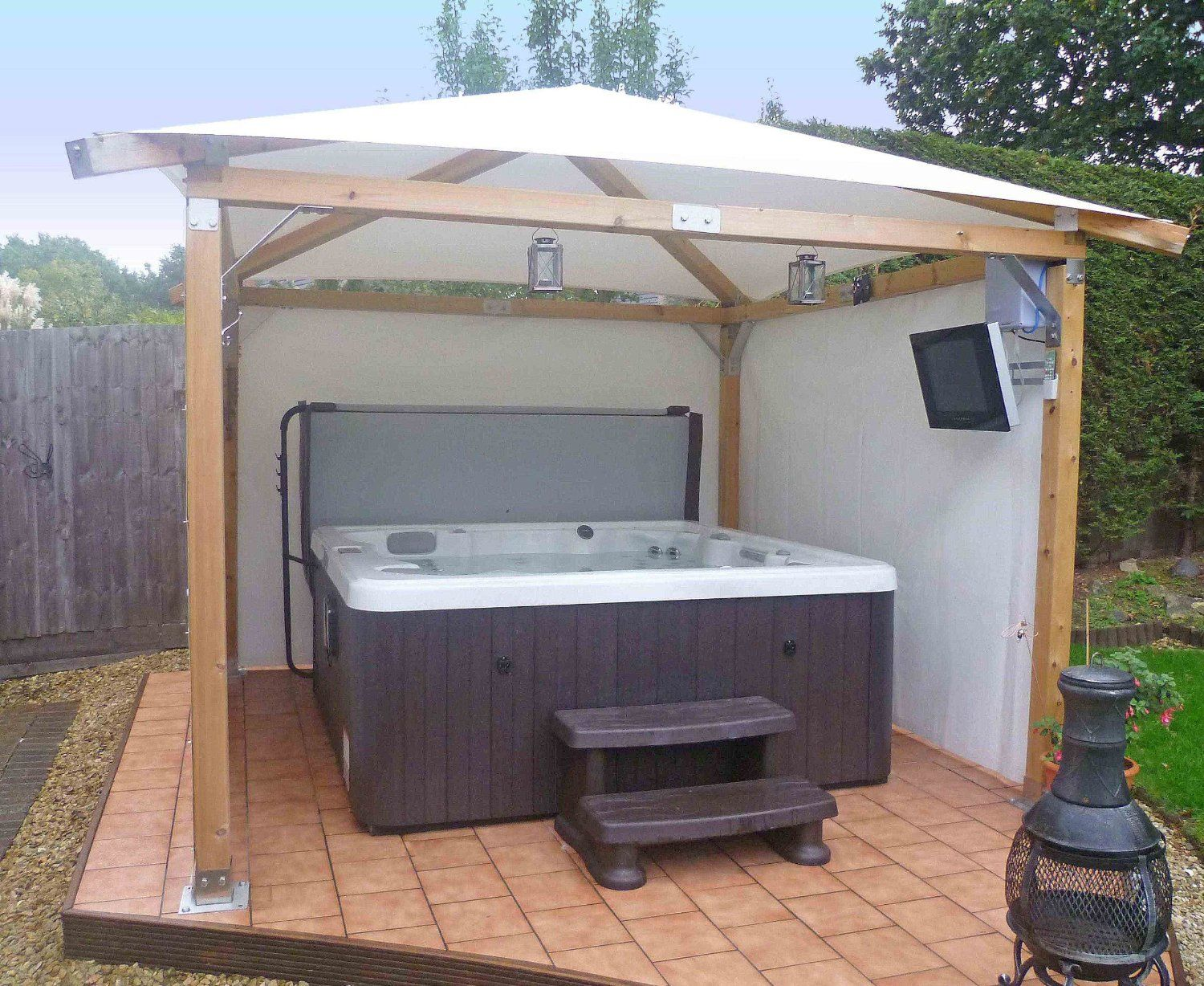 fence enclosures tub gazebo by steve brookport spa illinois showcase hot from enclosure louvered system louver flex