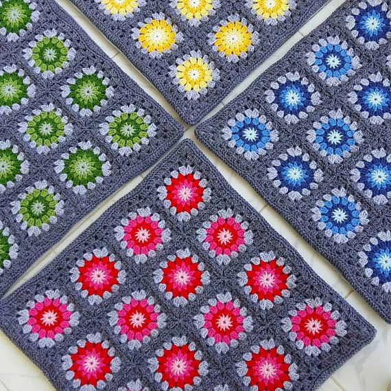 Set of 4 crochet granny square cushion covers pillow covers in grey edging #pillowedgingcrochet