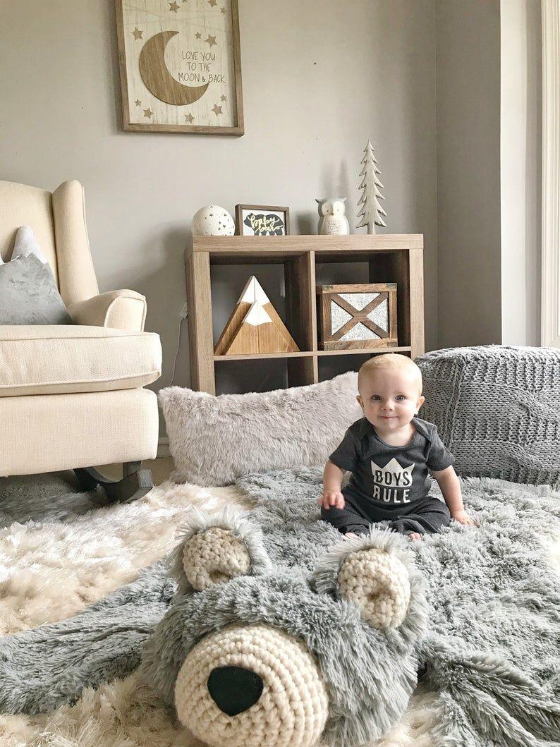 Bär Teppich Kindergarten regelmäßige Größe grau Minky
