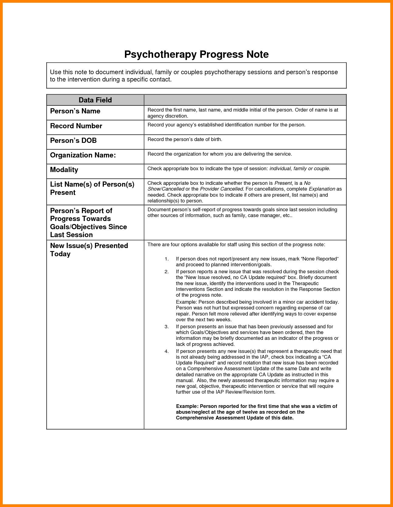 Psychotherapy Progress Note Template Pdf Treatment Plan Template