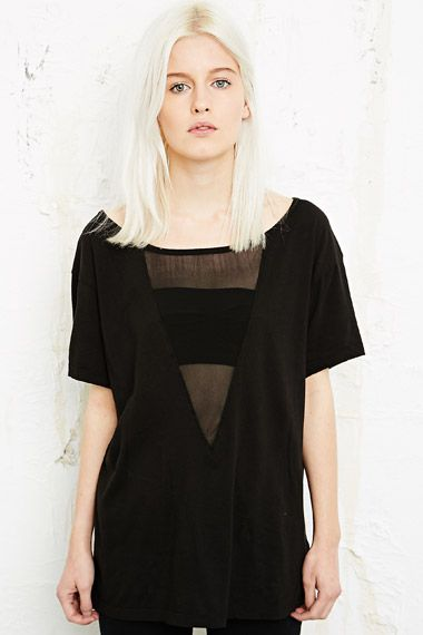 Truly Madly Deeply Mesh Insert Tee at Urban Outfitters