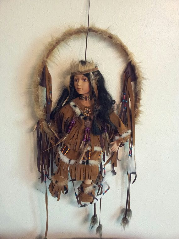 American+Indian+Doll+Dream+Catcher+by+MissKittisVintage+on+Etsy,+$59.99