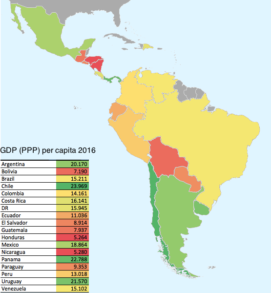 Latin American countries by GDP (PPP) per capita, 2016. - Maps on the Web