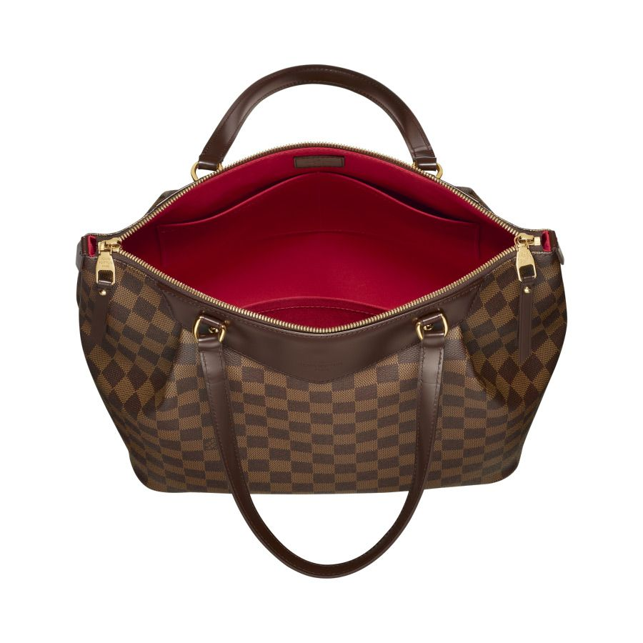 Louis Vuitton Westminster GM Tote Bag In Damier Ebene Canvas 2 580x580  red  interior pops against brown leather exterior c976513483