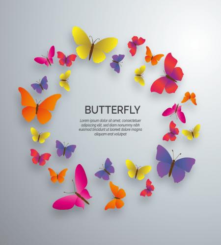 اطار فراشات ملونة جاهزة للكتابة واضافة صوركم لها ملف مفتوح Vector Free Butterfly Butterfly Design