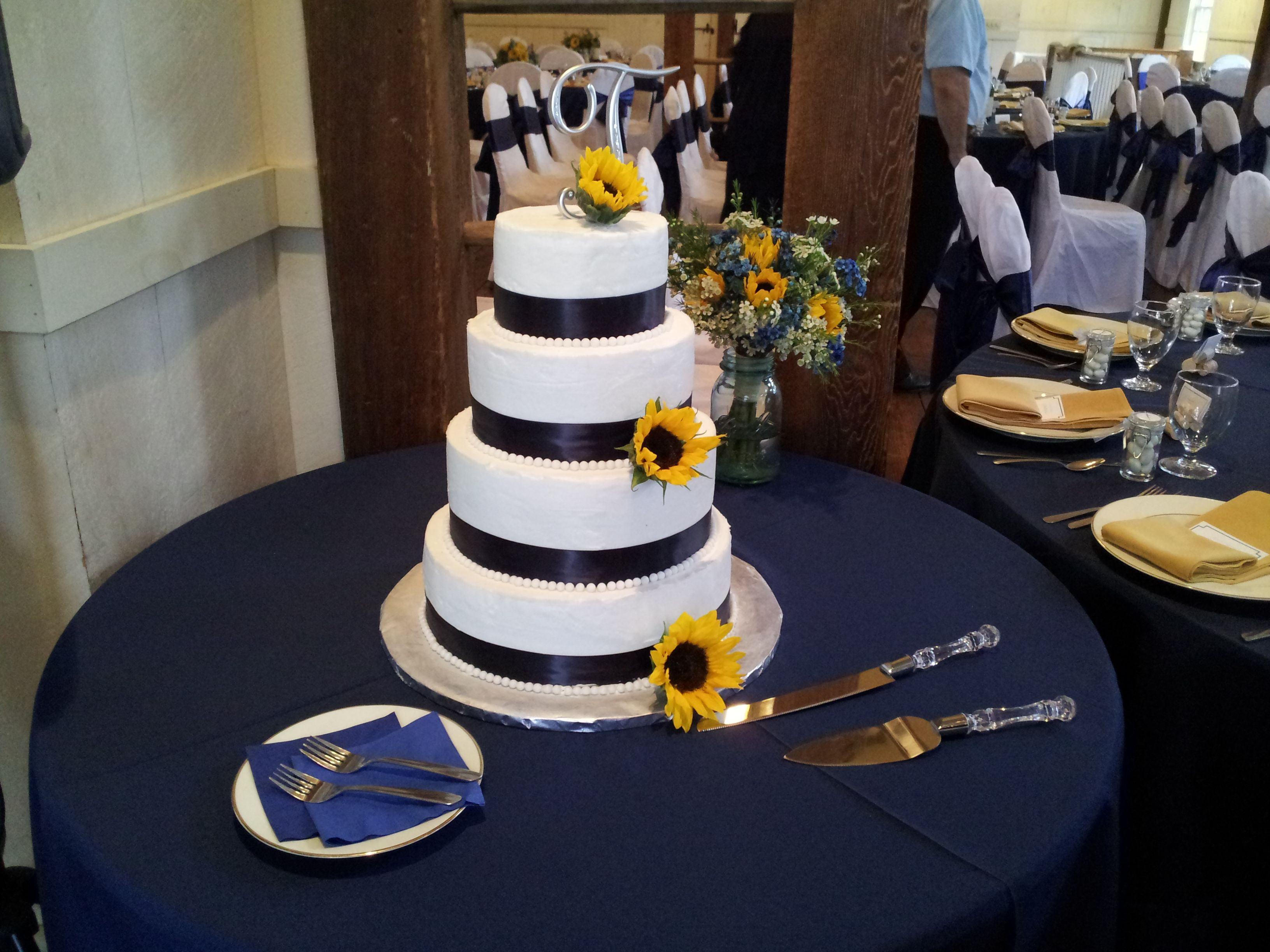 Navy Blue And Sunflower Wedding Cake Sunflower Wedding Cake