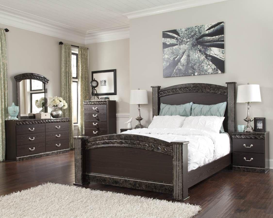 Vachel Dark Brown Wood Marble Master Bedroom Set Bedroom Sets