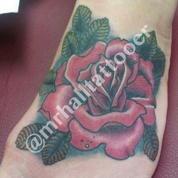 Josh Hall   #mrhalltattooer  972-849-6428  #custom #foot #fun #fusionink #ink #rose #texastattoos #traditionaltattoo #zapper