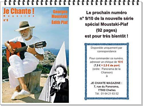 Magazine Je Chante van januari is speciaal gewijd aan Moustaki en Édith Piaf