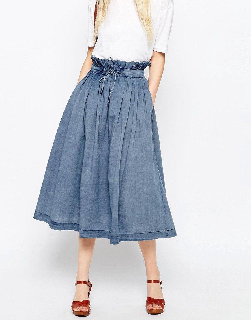 bf1a1ea846 ASOS Denim Paper Bag Waist Midi Skirt at asos.com | Paper Baggin ...