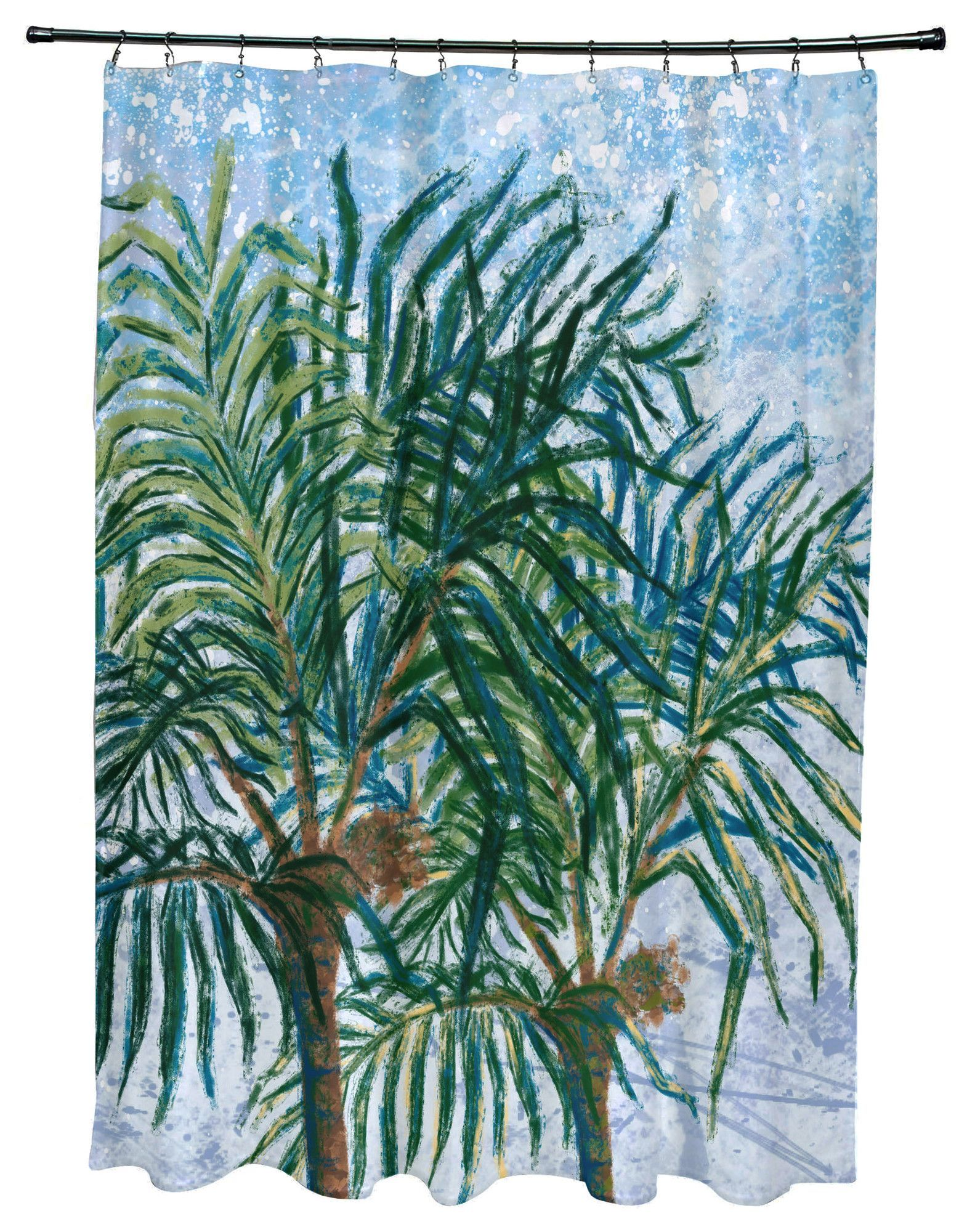 Kingbird Palms Floral Print Shower Curtain