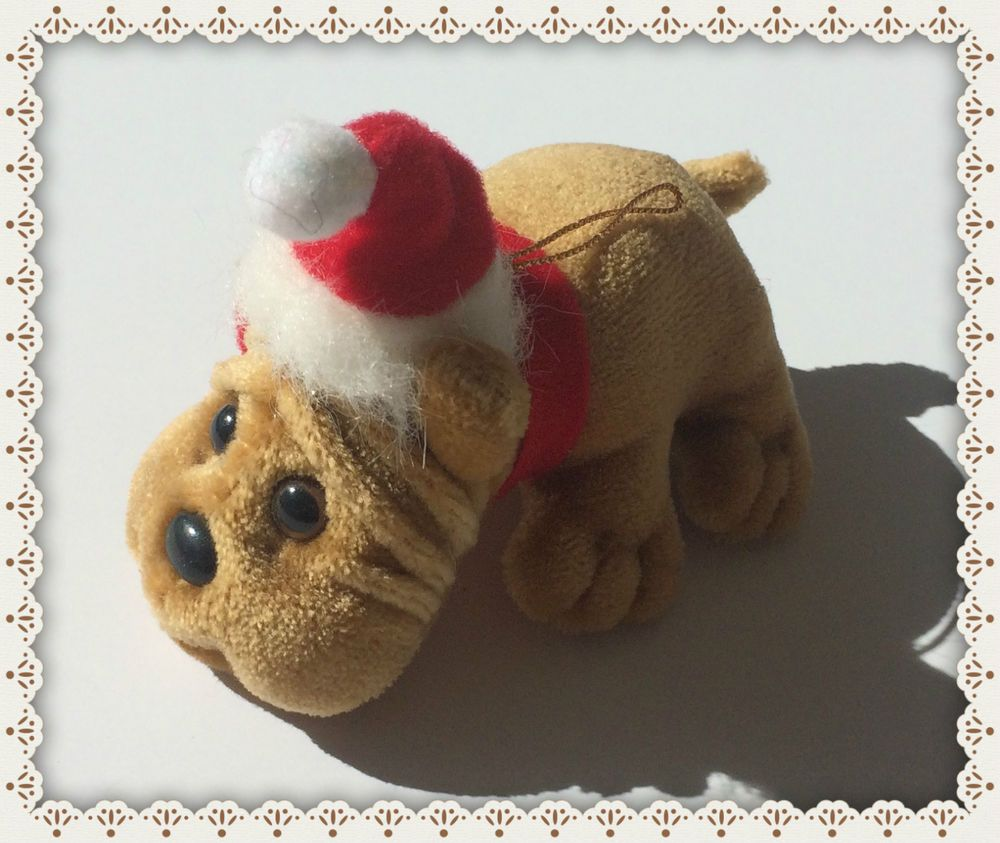 VTG POUND PUPPIES ❤ SHAR PEI ❤ RARE PLUSH CHRISTMAS ORNAMENT