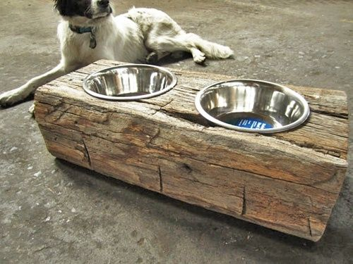 Reuse Wood Log Dog Food Holder By Mdhatlaw Wood Dog Dog Food