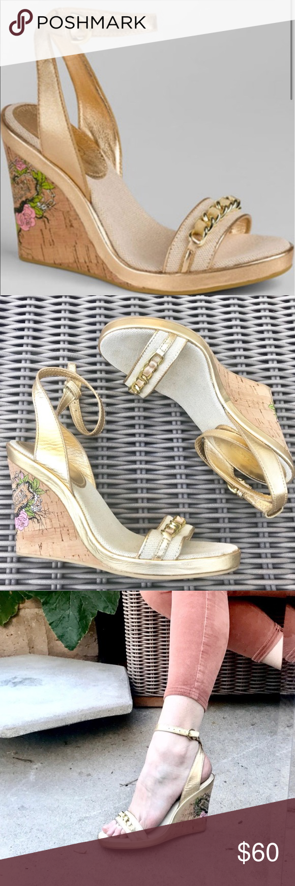 603538d78fdc COACH GOLD leather wedge Heels Strappy Sandals 7.5