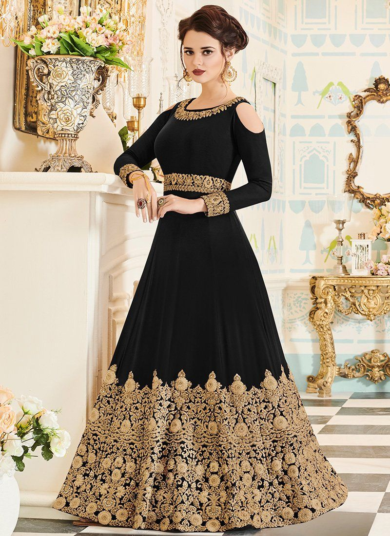 669ac5c6dd02 Black and Gold Embroidered Georgette Anarkali Suit   элловайн in ...