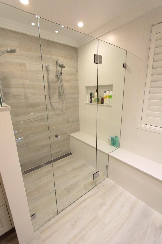 St Ives Master Ensuite White Washed Wood Look Tiles Flow Through Seat Double Shower Sleek Bathroom Tile Bathroom Wood Look Tile Bathroom