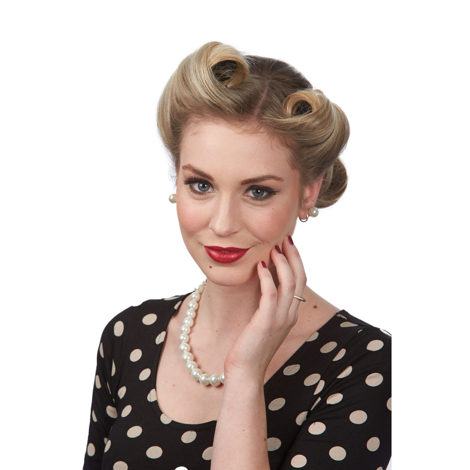 Wedding Hairstyle Roll: Vintage Victory Roll Kit, Vintage Retro Hair, Red Lip