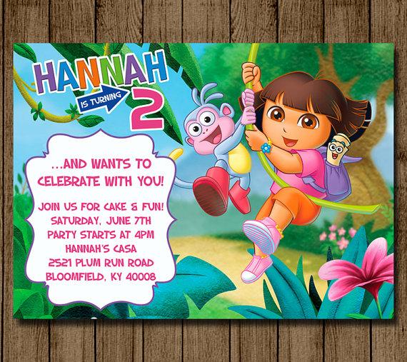 Dora the Explorer Birthday Invitation, Dora Invitation, Dora Invite, Girl Birthday Party, Dora Party