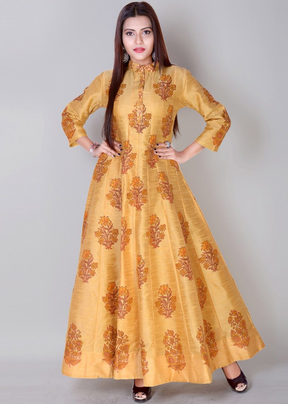 5f71aa9b0ba2 Readymade #Yellow Printed Indian #Gown in Dupion #Silk | Traditional ...