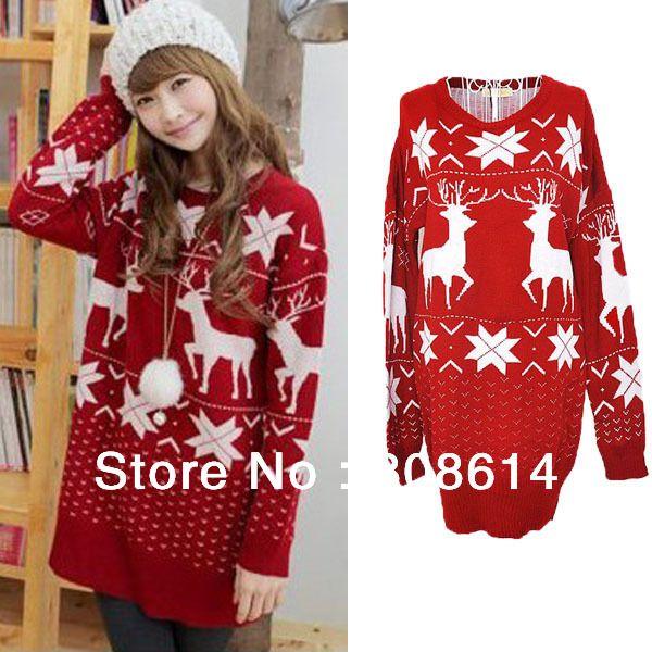 Hot-Red-font-b-Christmas-b-font-font-b-Reindeer-b-font-Snowflake-Lady-Womens-New.jpg (600×600)