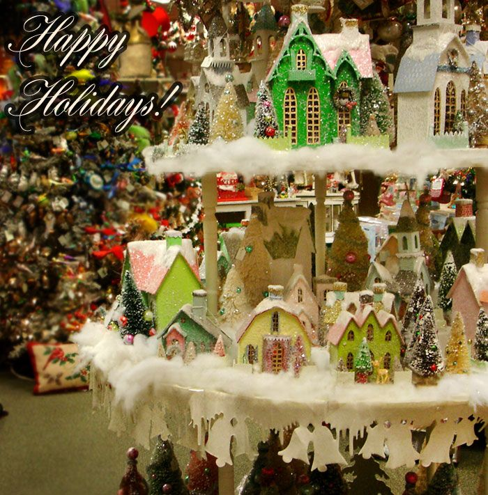 There is nothing that says Christmas more than a Cody Foster village house collection.  Decorate your mantle or tabletop with the houses and bottle brush trees and fill in the space with batting and snow!