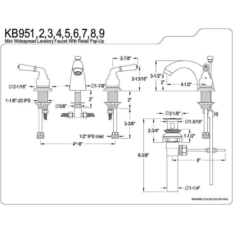 Kingston Polished Brass 4 8 Mini Widespread Bathroom Faucet W Pop Up Kb952 Widespread Bathroom Faucet Bathroom Faucets Kingston Brass