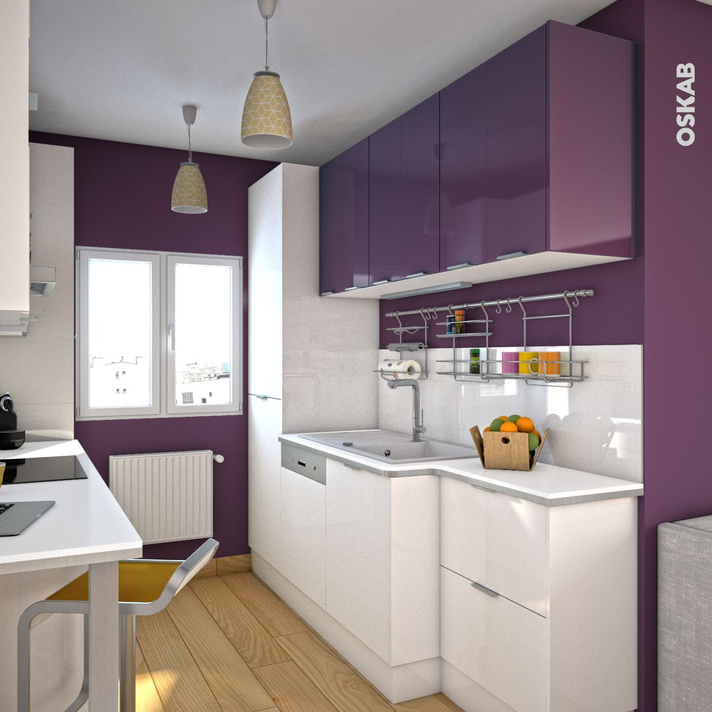 cuisine aubergine mod le keria aubergine brillant pantry. Black Bedroom Furniture Sets. Home Design Ideas