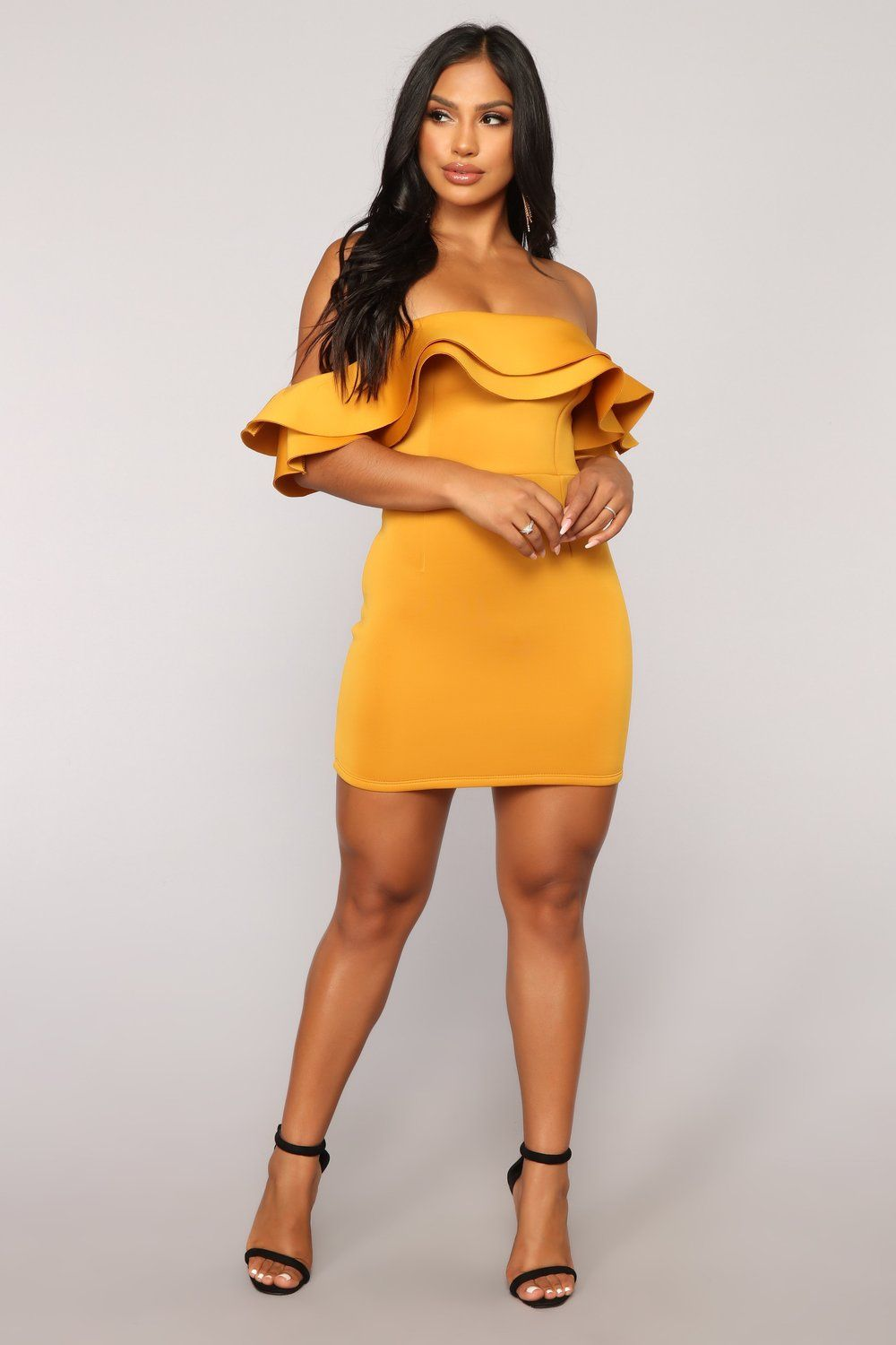 caba93f9a46c9 Stay The Night Off Shoulder Dress - Mustard in 2019 | DRESSES cuz i ...