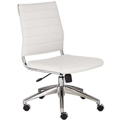 Medina Low Back Armless White Office Chair