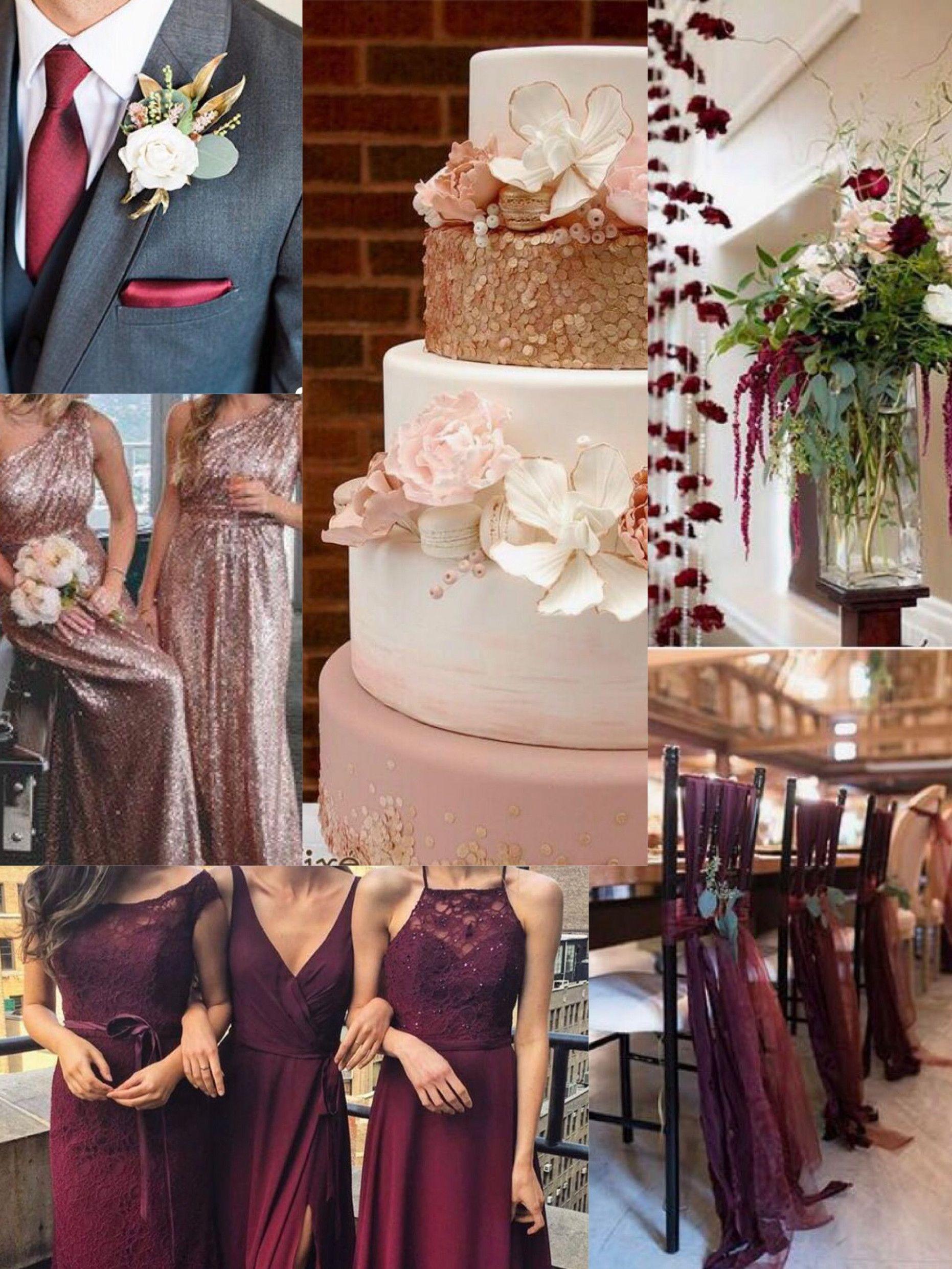 Pink Rose Gold Wedding Color Schemes Gold, burgundy