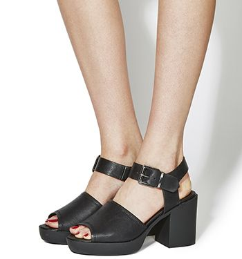 Office Mission Chunky Sandals Black - Mid Heels