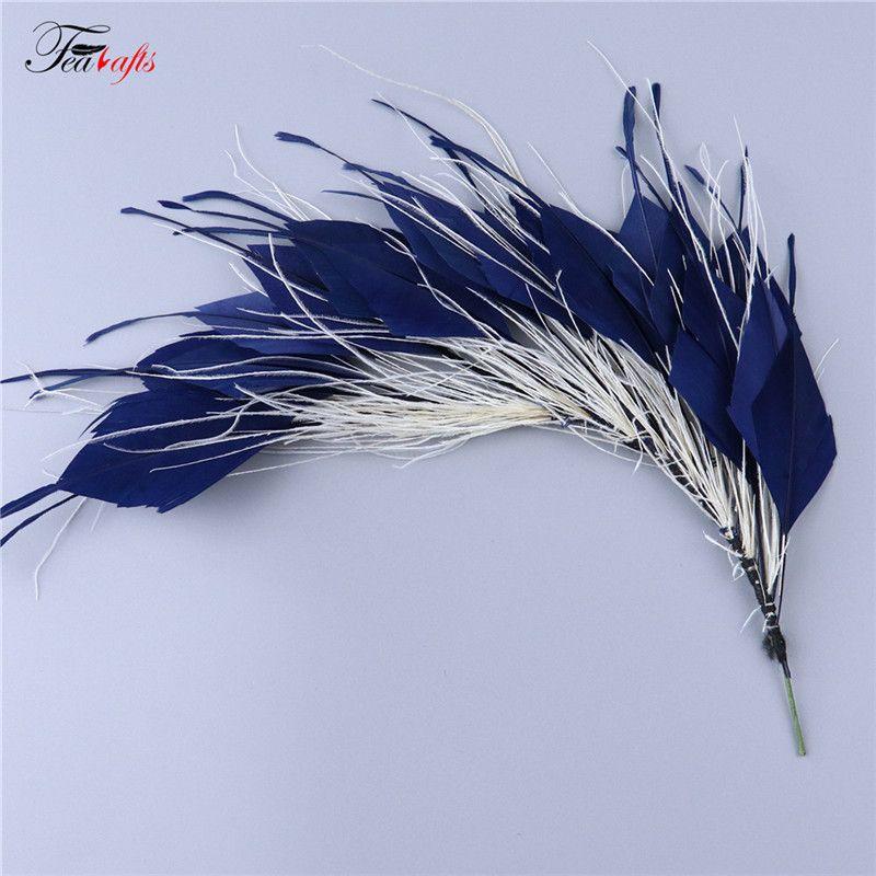25 30cm Navy Blue G01005026 Flower Accessories Feather Crafts Hat Decoration
