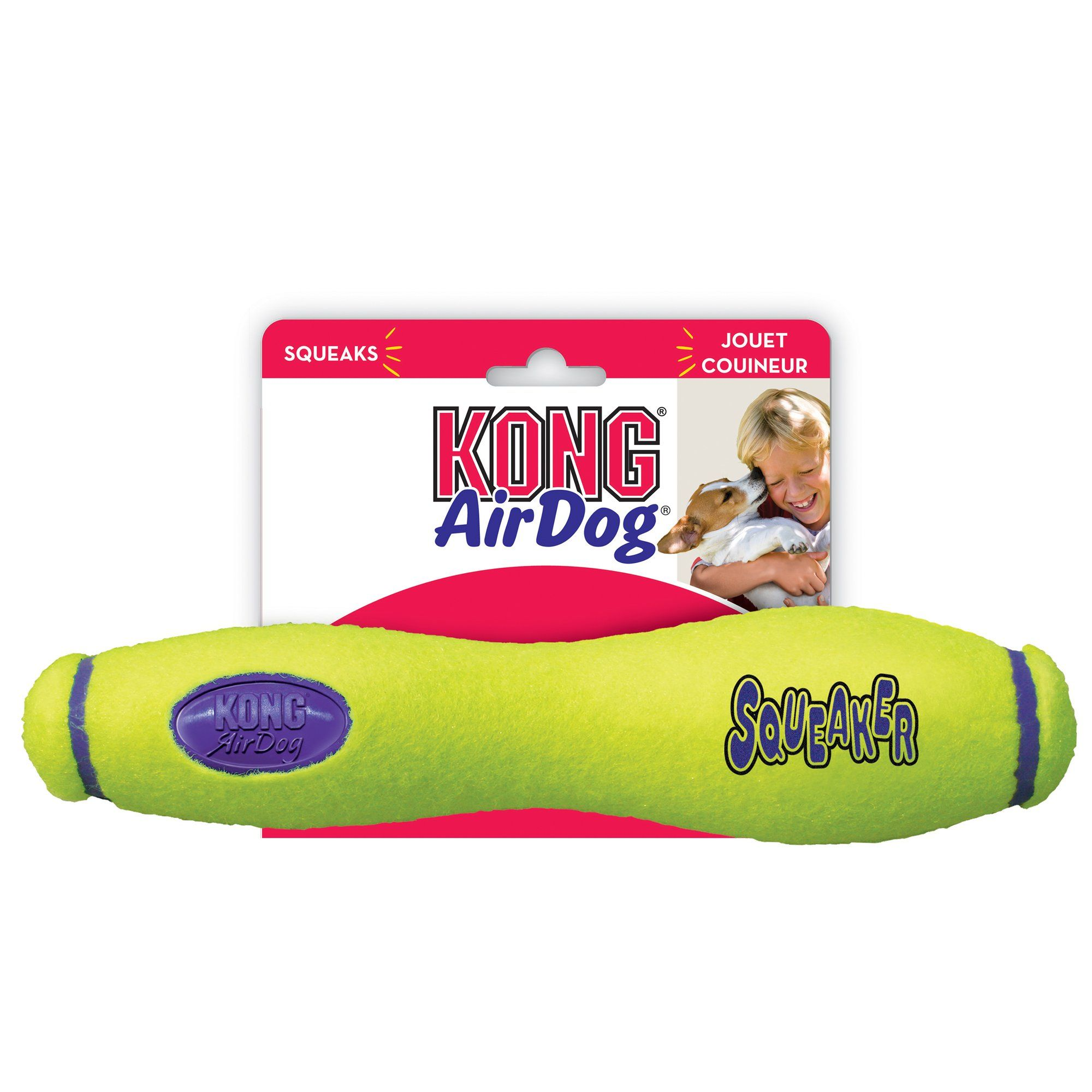Air kong squeaker fetch stick dog toy large yellow dog