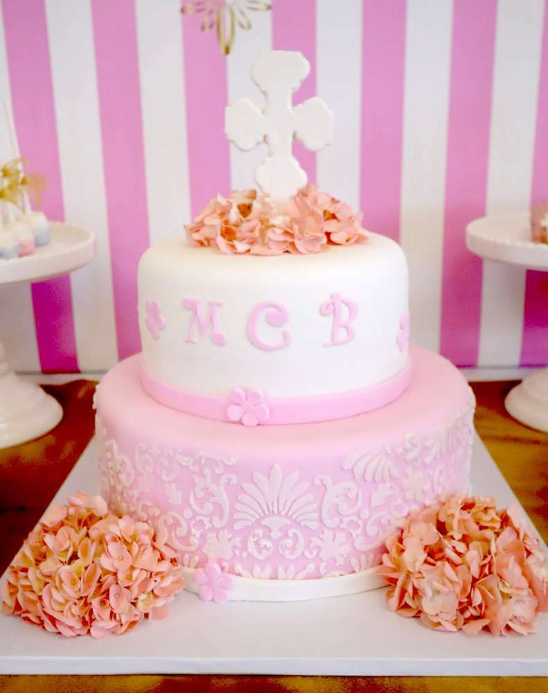 Gorgeous cake at a pink & gold baptism party! See more party ideas at CatchMyParty.com!