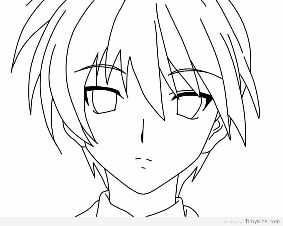 Anime Boy Coloring Pages Anime Drawings Boy Easy Drawings Anime
