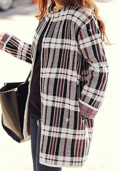 This classic-style plaid open front cardigan has multi-colored prints all over its stretchable fabric and side pockets. | Lookbook Store