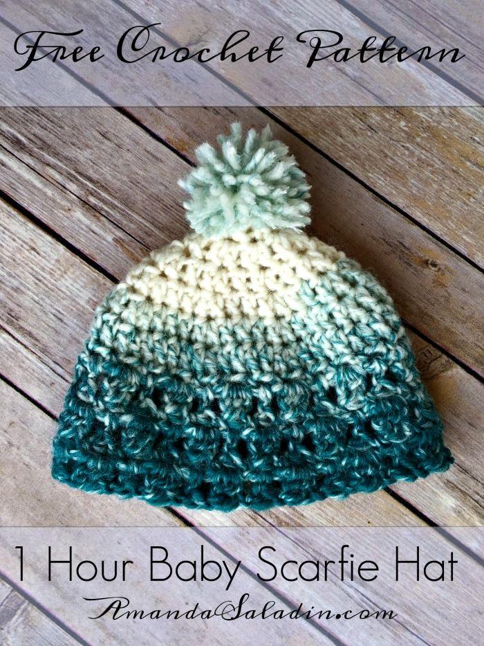 1 Hour Baby Scarfie Hat - Free Crochet Pattern | Gorros, Gorros ...