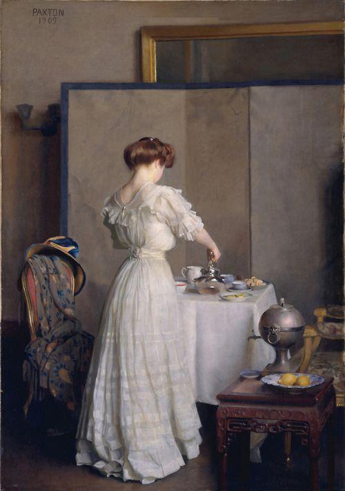 lostsplendor:  Tea Leaves byWilliam McGregor Paxton, 1909 (by Plum leaves)