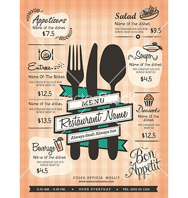 Restaurant menu design template layout vector - by kraphix on - restaurant menu design templates