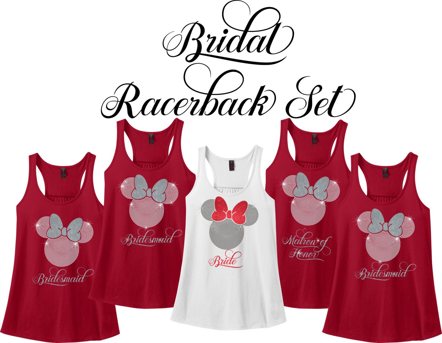 Minnie Mouse Bridal Party Racerback Set Wedding Party Tank Etsy Wedding Party Shirts Wedding Party Outfits Wedding Party Tanks