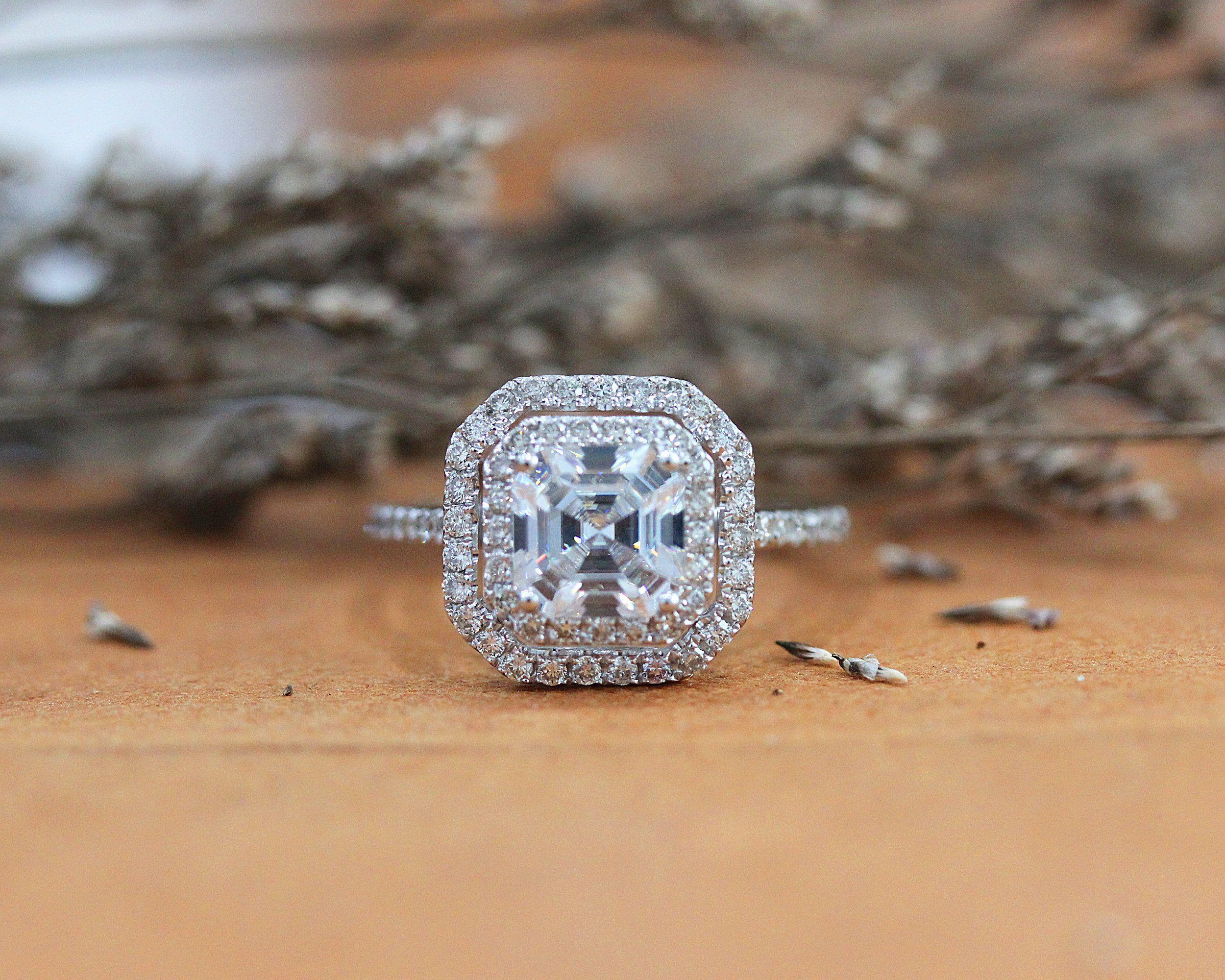 Wedding Gift Solid 14k Gold Engagement Ring Moissanite Diamond 18k Gold 1.50 CT White Gold Ring Solitaire Asscher Cut Moissanite Ring