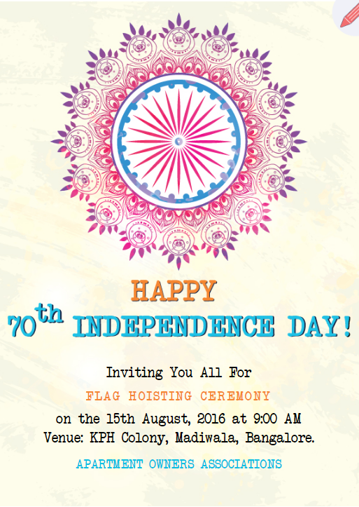 Independence Day Flag Hoisting Invitation India Online